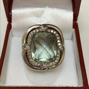 David Yurman Prasiolite and Diamond Ring. So 6.5